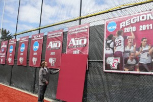 The formal unveiling of our 2013 Atlantic 10 Championship banner at Bahoshy Field. (Courtesy of Tom Wasiczko)