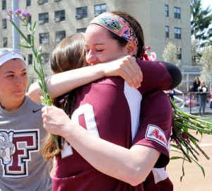 Elise and me during an emotional senior day ceremony.