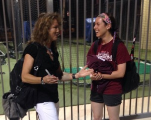 Michele Smith and me chatting after our first game at Regionals against Florida State.