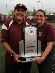 Bob Baxter posing with his daughter Bridget Orchard following Fordham's 2014 Atlantic 10 championship. (Courtesy of Tom Wasiczko)