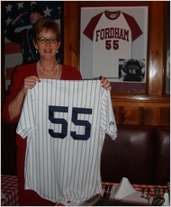 Gregory-O'Connell after her No. 55 was retired in 2009. (Courtesy of Fordham University)