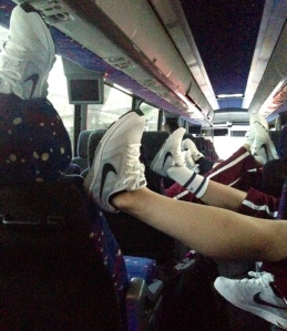 A sea of clean, white sneakers on the bus to JFK airport, en route to our first tournament of 2015 in Arizona.