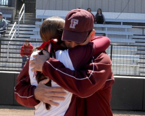 My dad and I embrace during Saturday's senior day ceremony in the Bronx. (Courtesy of Tom Wasiczko)